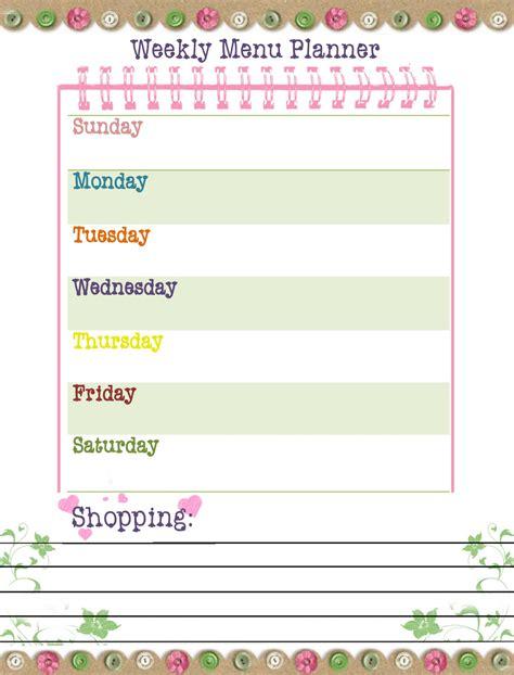 learn weekly menu planner  printable