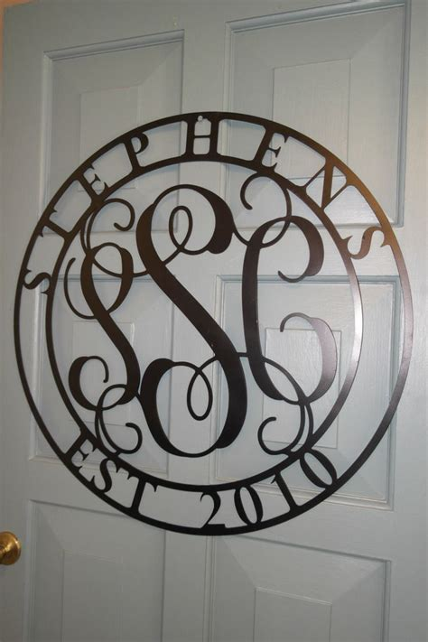 Metal 3 Letter Monogram With Last Name And Year Est 18