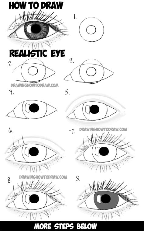 draw realistic eyes  step  step drawing