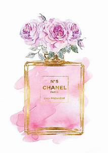 Chanel No5 print A4 Pink roses watercolor with gold by ...