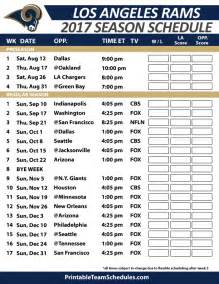 Los Angeles Rams Printable Schedule 2017