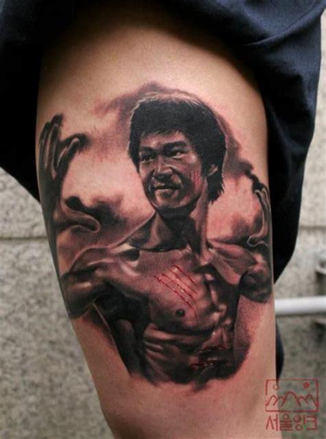 realistic bruce lee thigh tattoo  seoul ink tattoo