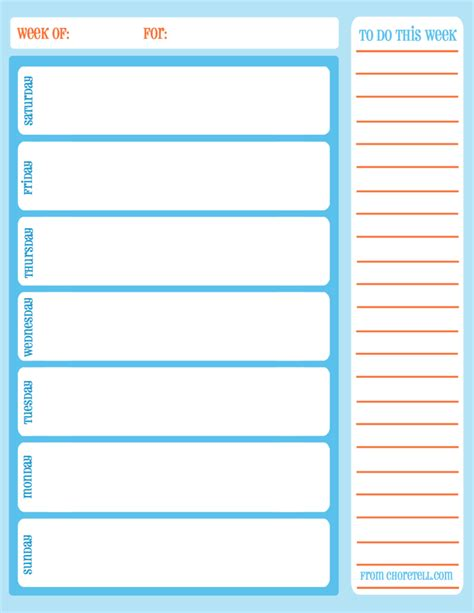 printable weekly chore calendar  printable