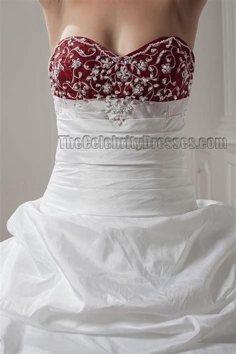 white  burgundy embroidered   strapless wedding