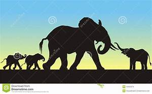 Mother And Babies Elephants Silhouettes Stock Images ...