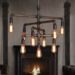 Retro industrial water pipes chandelier creative design