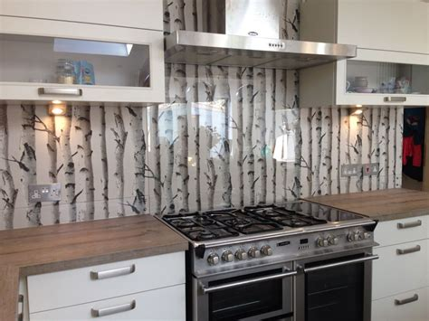 wallpaper backsplash in kitchen clear glass splashback with great effect wallpaper 6968