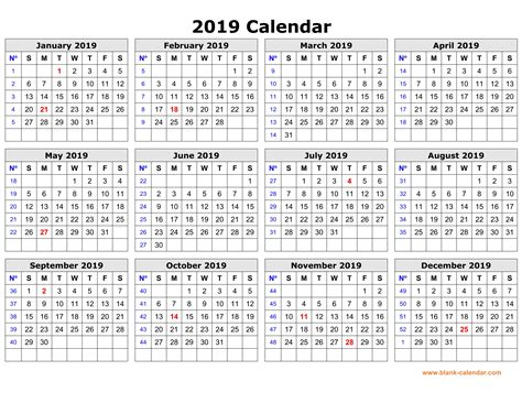 Free Download Printable Calendar 2019 In One Page, Clean