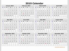 Get Free 2019 One Page Calendar Printable October 2018