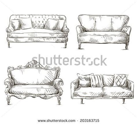 sofa set drawing sofa drawing set of sofas drawings sketch style vector illustration stock vector