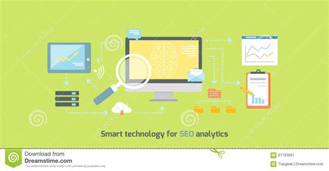 Seo Technology by Smart Technology For Seo Analytics Icon Flat Stock Vector