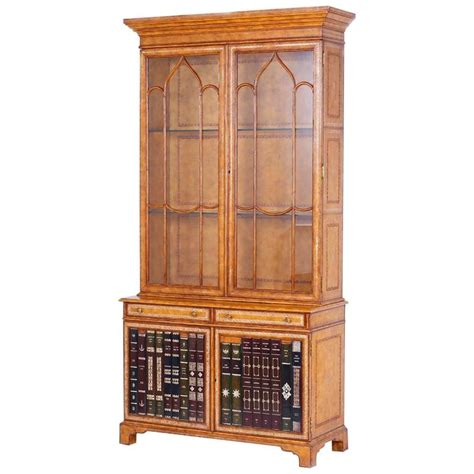 Leather Bookcase by Mid Century Leather Covered Bookcase Or Cabinet For Sale