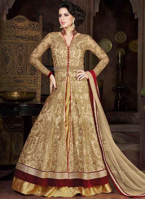 buy beige  maroon color net party wear anarkali salwar
