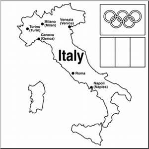 Clip Art: 2006 Italy Winter Olympics Map B&W I abcteach ...
