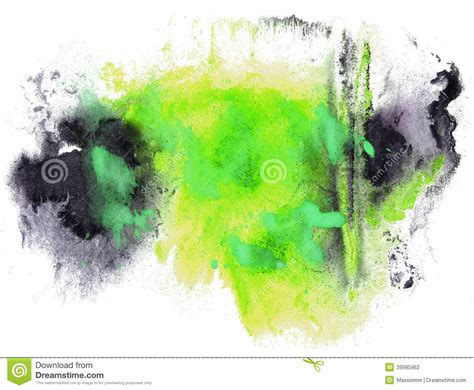 Abstract Black Color Splash by Abstract Drawing Stroke Ink Watercolor Brush Black Green