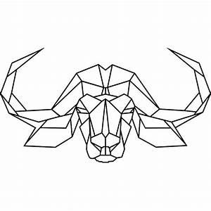 Tete De Buffle : sticker t te de buffle en origami ~ Teatrodelosmanantiales.com Idées de Décoration