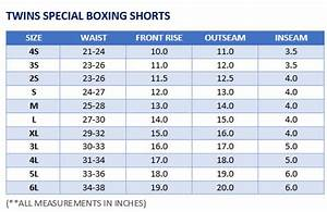 Boxing Glove Size Chart Twins Special Muay Thai Shorts