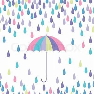 Umbrella and raindrop seamless vector pattern Vector