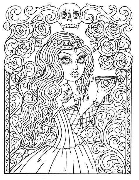 Instant Download GOTHIC Beauty Coloring book, adult
