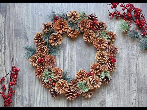 diy woodland pinecone wreath tutorial youtube