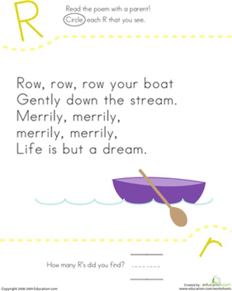Row Row Your Boat Worksheet by Find The Letter R Row Row Row Your Boat Worksheet