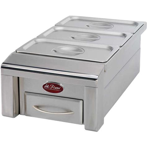 cal flame outdoor kitchen stainless cal flame 12 in drop in stainless steel bbq food warmer