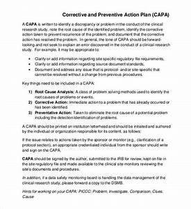 corrective action plan template 23 free word excel pdf With preventive action plan template
