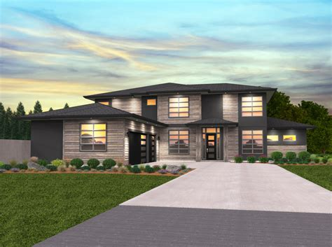 2 Story Modern Home Design With 3 Car