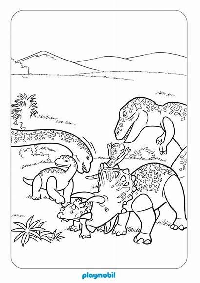 Playmobil Coloring Coloriage Imprimer Colorear Dinosaurios Dibujos