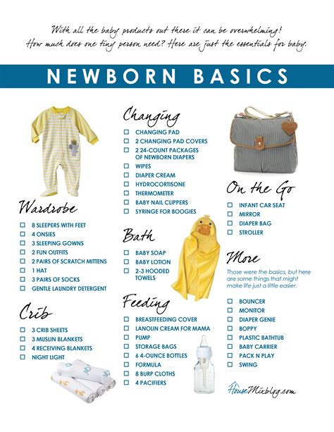 newborn baby essentials newborn basics registry checklist house mix