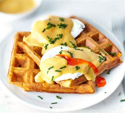 marmite eggs benedict  waffles recipe bbc good food