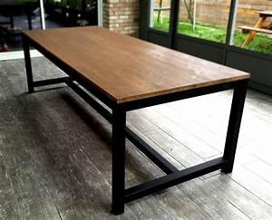 table de salle a manger en acier et bois tables With meuble salle À manger avec table bois et metal salle manger