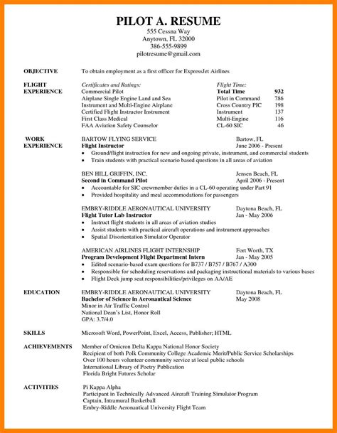 Airline Pilot Resume by 9 Pilot Resumes Exles By Designs