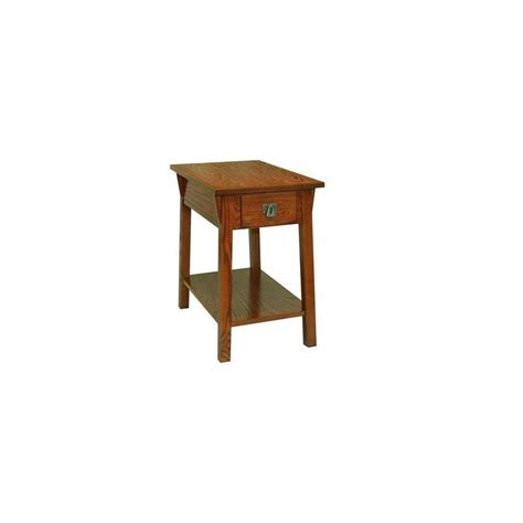 leick furniture mission chairside end table in russet