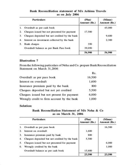 bank reconciliation   samples  word  excel