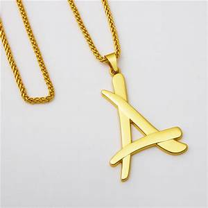 hip hop star a letter gold necklace mens bling bling hip With mens letter pendant