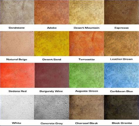 Soy based concrete stain color chart.   City Hall