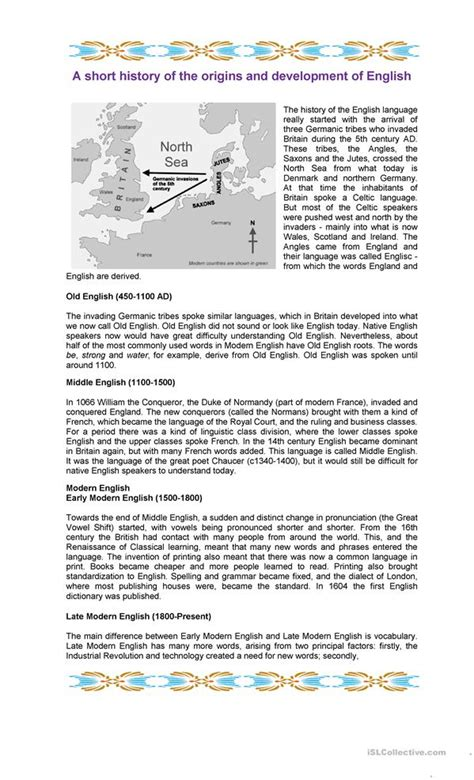 The Origins Of English Worksheet  Free Esl Printable Worksheets Made By Teachers