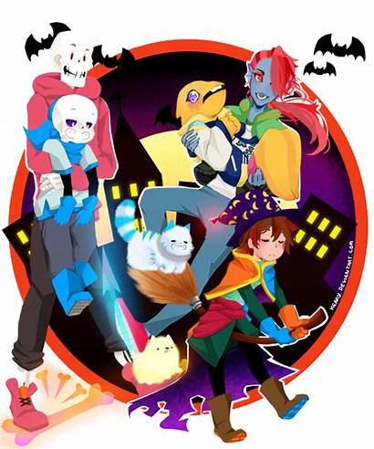 Undertale Halloween Happy Sans Papyrus Dressed Frisk