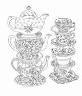 Tea Coloring Party Pages Printable Elegant Adult Cups Books Issuu Printables sketch template