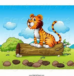 Larger Preview: Big Cat Cartoon Vector Clipart of a Happy ...