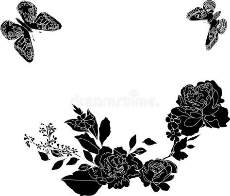 zwart witte vlinder en bloemen vector illustratie illustratie bestaande uit vlinder kunstwerk