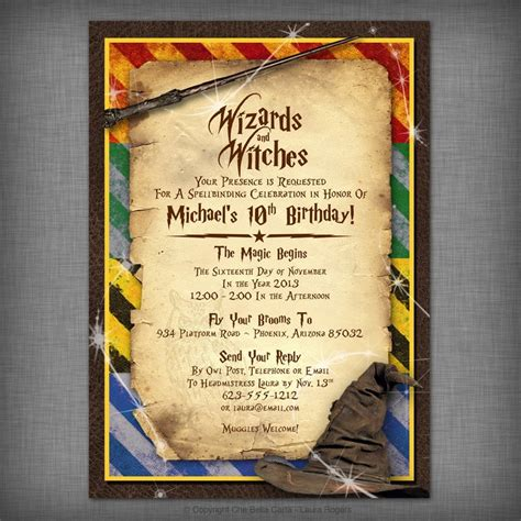witches wizards printable invitation harry potter