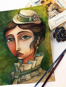 OOAK - Emma Bovary- oil pastels portrait - 9.44x12.60 ...