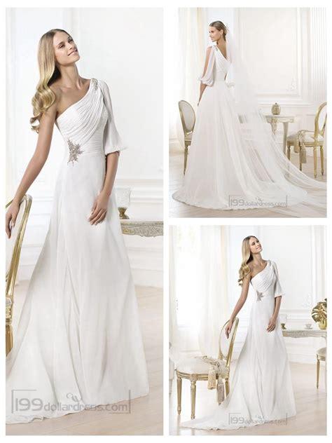 One Shoulder Drape Sleeve Dress - stunning one shoulder draped a line wedding dresses with