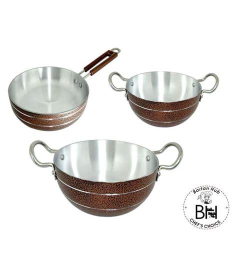 bartan hub bartan hub kadhai  fry pan set  piece cookware set buy    price