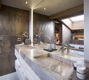 17 meilleures idees a propos de salle de bains de cuivre With salle de bain design avec double vasque marbre