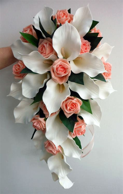 Wedding Bouquet Ivory Latex Foam Calla Lily And Peach Rose