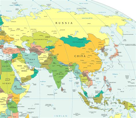 Asia Map With Capitals  Asia Maps  Map Pictures