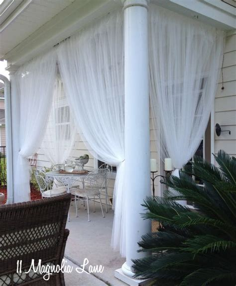 mosquito netting curtains on porch outdoors